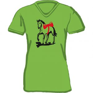 T-Shirt Pferd mit Schleife apfelgruen
