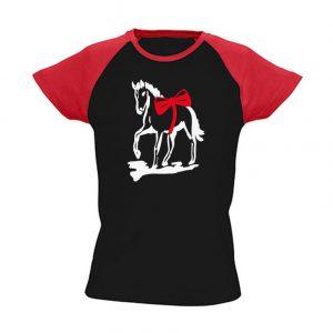 T-Shirt Pferd mit Schleife schwarz_rot