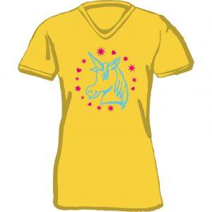 T-Shirt D Einhorn Kopf gelb