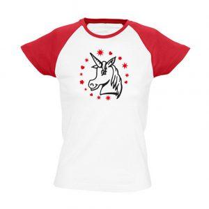 T-Shirt Einhorn Kopf weiß_rot bicolor
