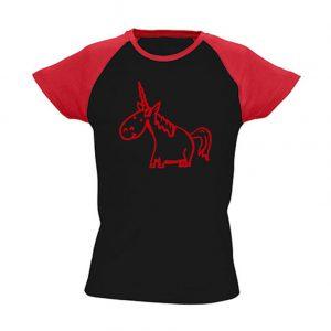 T-Shirt Einhorn schwarz-rot bicolor