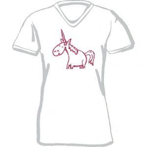T-Shirt Einhorn weiß-pink