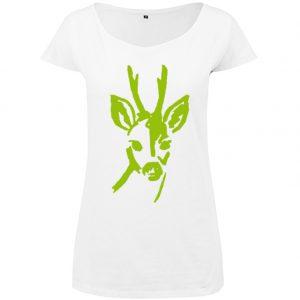 T-Shirt long D Rehbock Kopf weiß